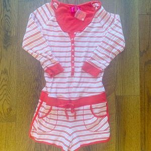 New Victoria's Secret PJ Romper Shorts Pink Red S